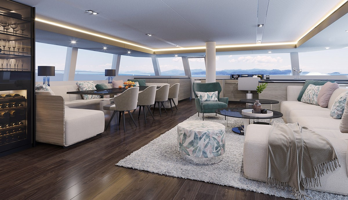 render interior sunreef 70 sailing