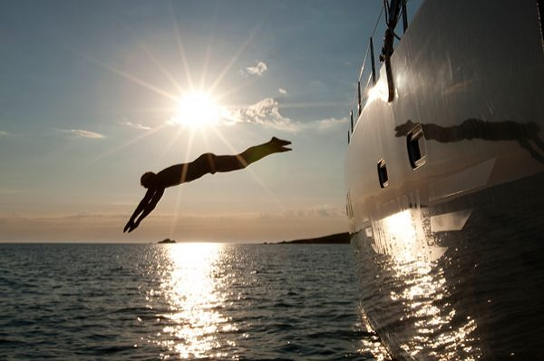 jumping off a sunreef eco yacht